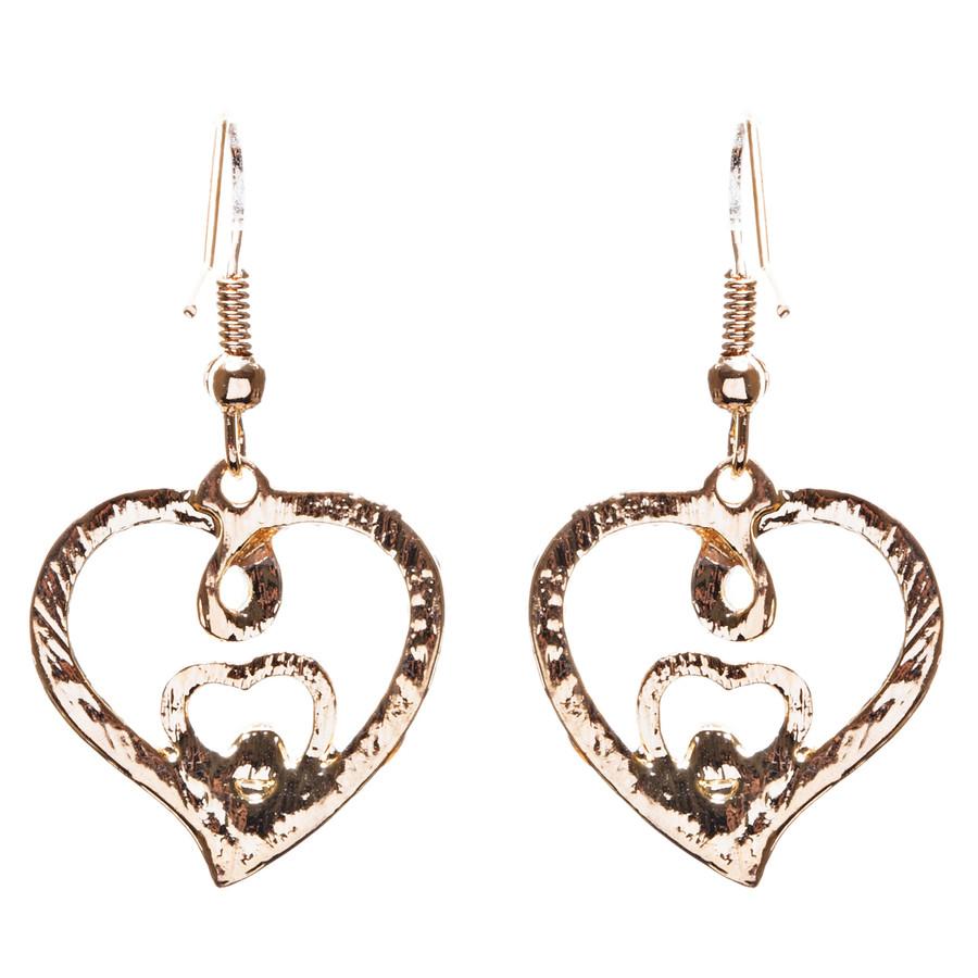 Adorable Valentine Theme Fashion Crystal Rhinestone Heart Earrings E908 Gold