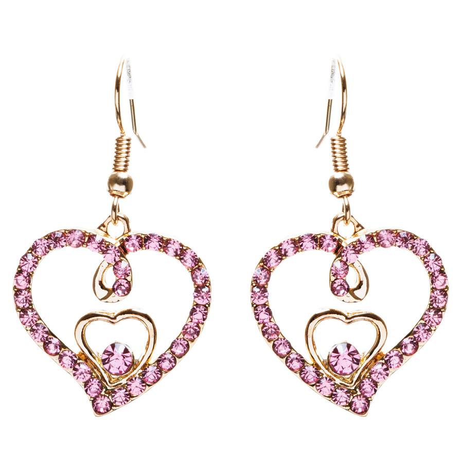 Adorable Valentine Theme Fashion Crystal Rhinestone Heart Earrings E908 Pink
