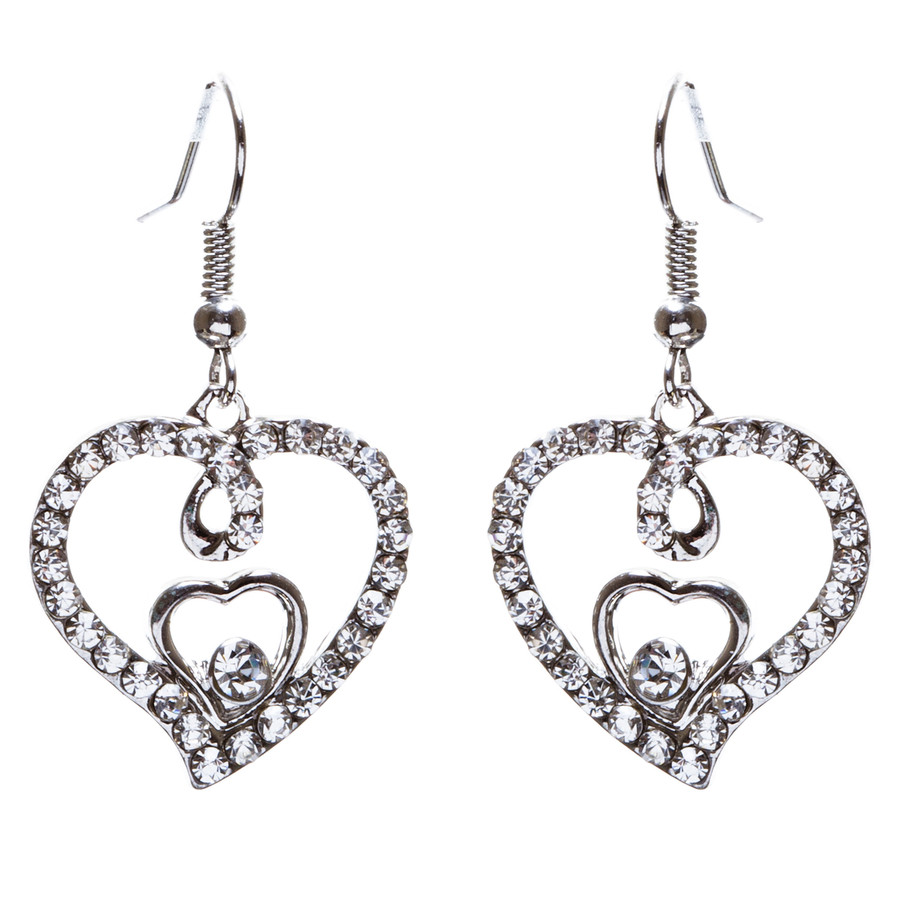Adorable Valentine Theme Fashion Crystal Rhinestone Heart Earrings E908 Silver