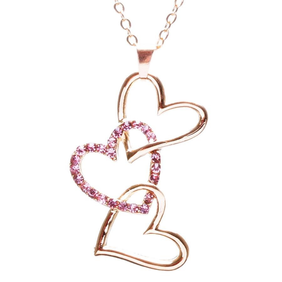 Valentines Jewelry Crystal Rhinestone Triple-Hearts Pendant Necklace N89 Pink