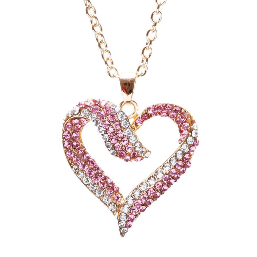 Valentines Jewelry Crystal Rhinestone Beautiful Heart Pendant Necklace N90 GD PK