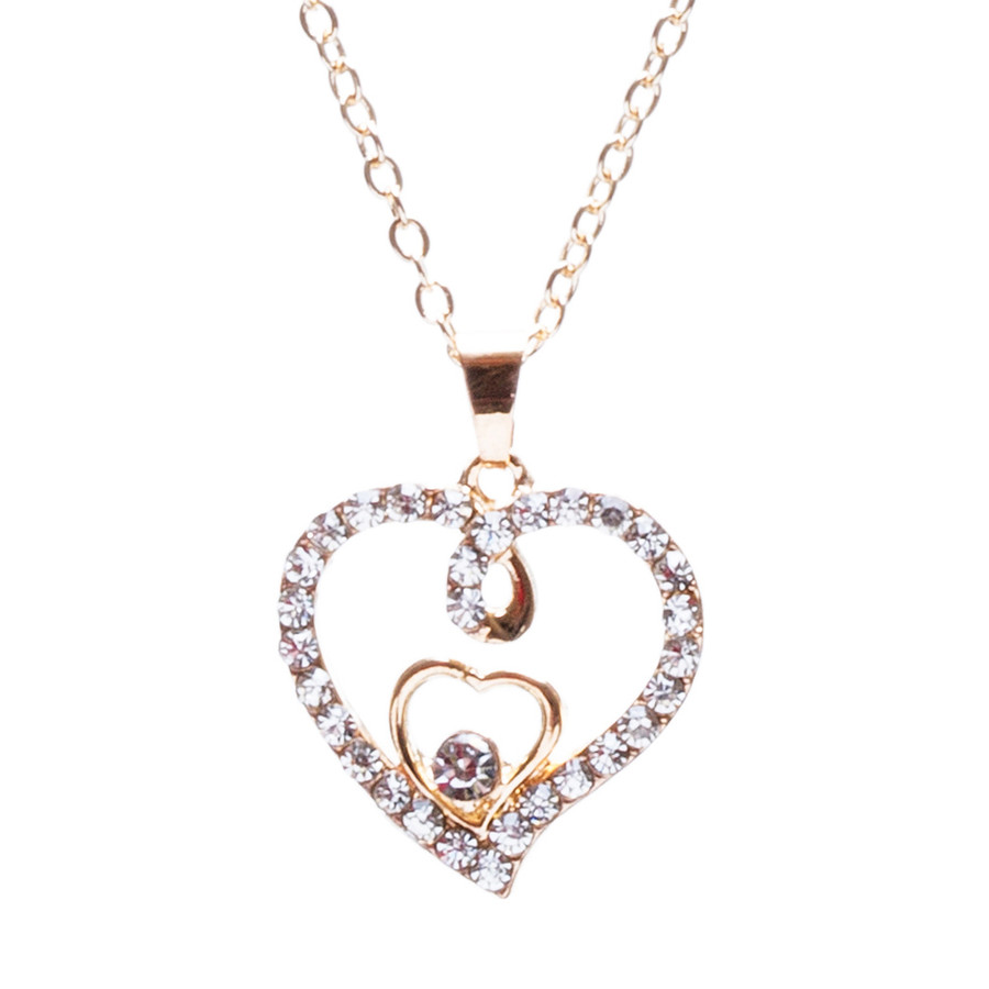 Valentines Jewelry Crystal Rhinestone Gorgeous Hearts Necklace N91 Gold