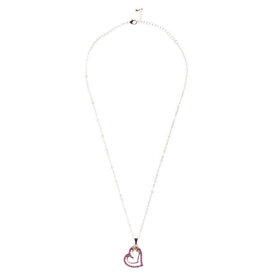 Valentines Jewelry Crystal Rhinestone Sparkling Hearts Necklace N92 Pink