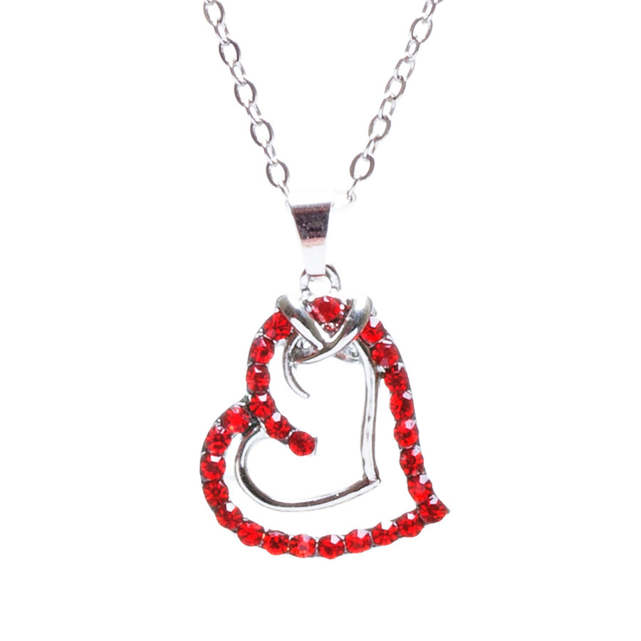 Valentines Jewelry Crystal Rhinestone Sparkling Hearts Necklace N92 Red