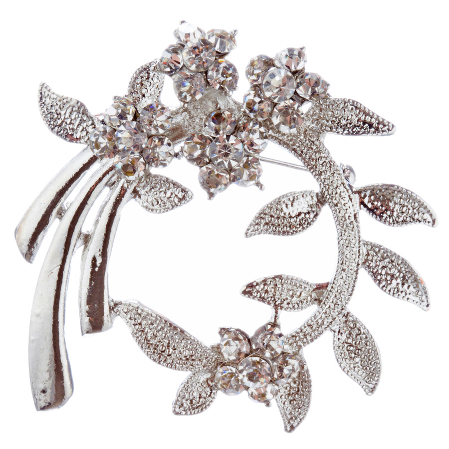 Bridal Wedding Jewelry Crystal Rhinestone Classic Floral Brooch Pin BH187 Silver