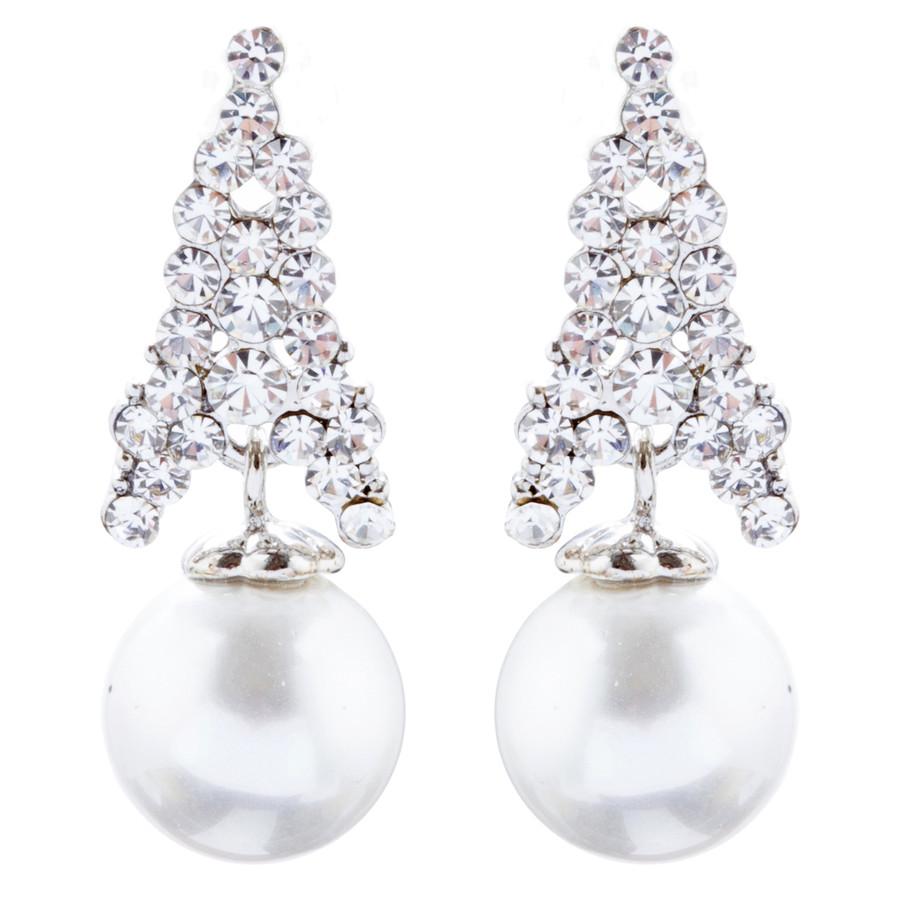 Bridal Wedding Jewelry Crystal Rhinestone Pearl Classic Earrings E1018 Silver
