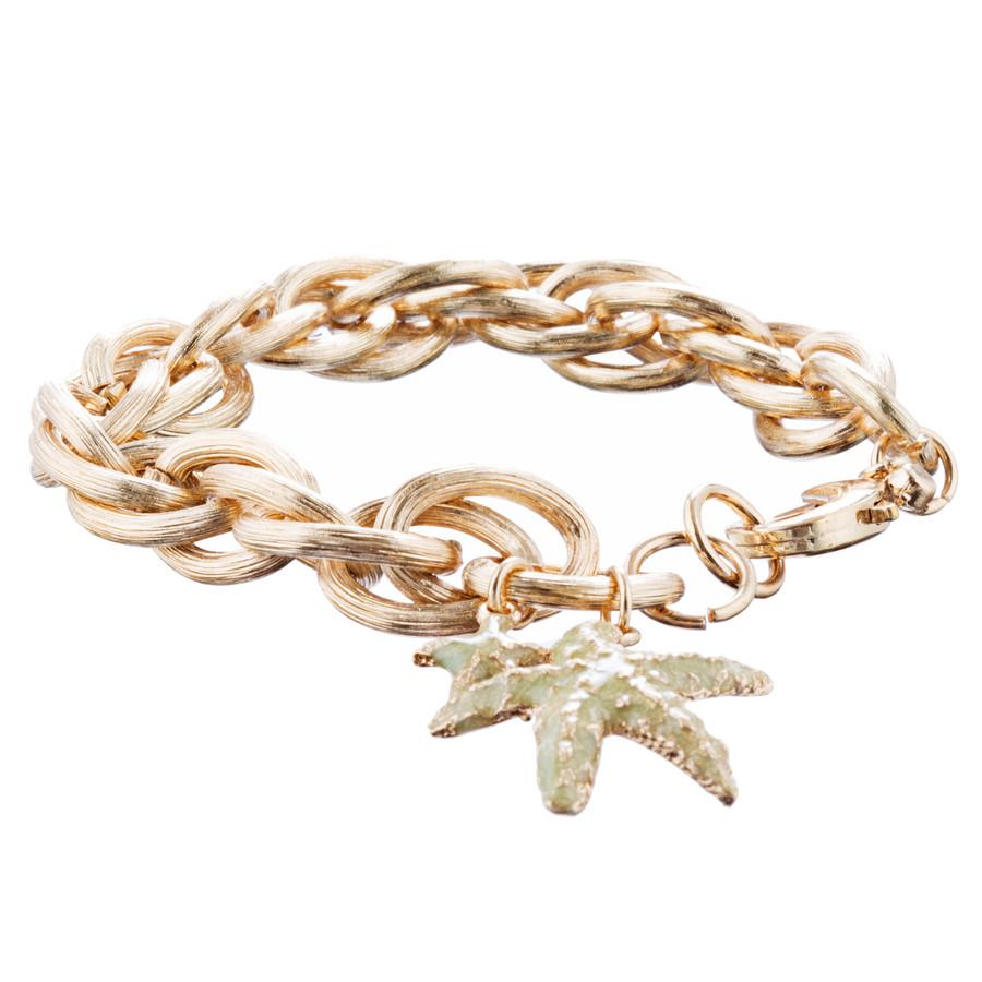 Ocean Starfish Dangling Charm Crystal Link Fashion Bracelet B517 Gold Green
