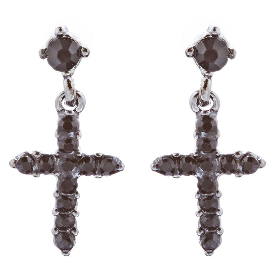 Charming Cross Crystal Rhinestone Dangle Fashion Earrings E1013 Black