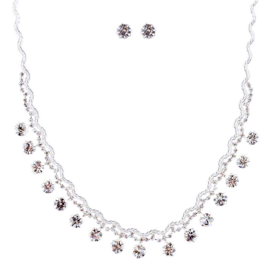 Bridal Wedding Jewelry Crystal Rhinestone Prom Necklace Earrings Set J712 Silver
