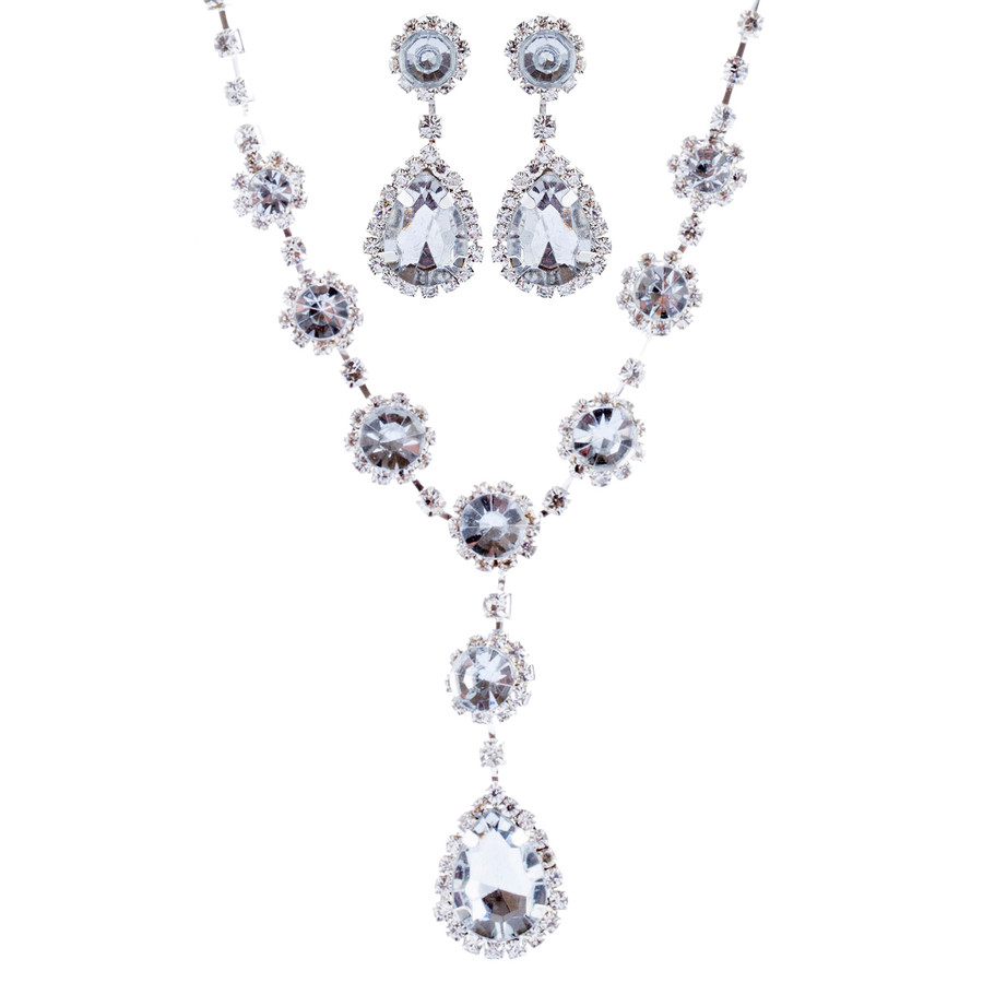 Bridal Wedding Jewelry Crystal Rhinestone Prom Necklace Earrings Set J726 Silver