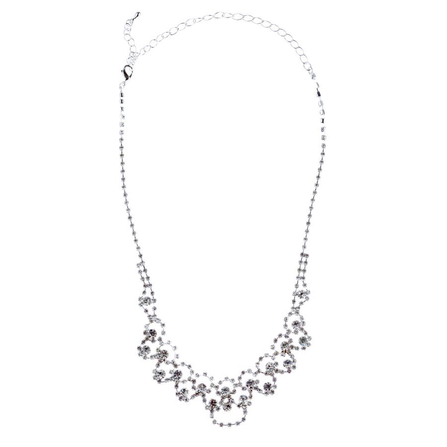 Bridal Wedding Jewelry Crystal Rhinestone Prom Necklace Earrings Set J728 Silver