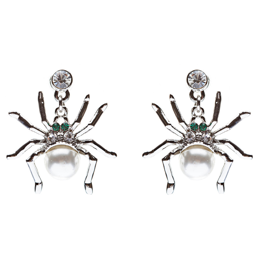 Halloween Costume Jewelry Spider Crystal Pearl Dangle Charm Earring Silver White