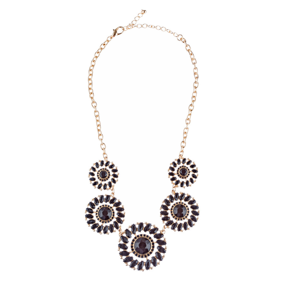 Glamorous Sparkle Bold Fashion Statement Necklace Earrings Set JN290 Gold Black