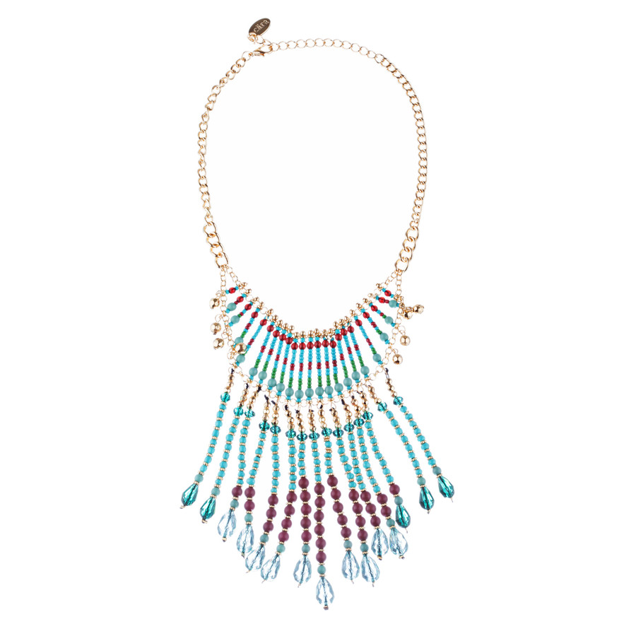 Magnificent Drape Design Bead Fashion Statement Necklace N101 Turquoise