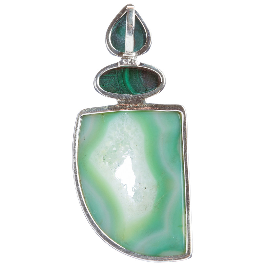 925 Sterling Silver Natural Gemstones Agate Druzy Malachite Pendant FJSVP2081