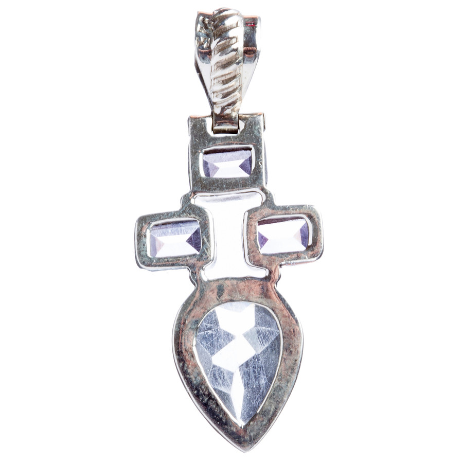 925 Sterling Silver Natural Gemstones Amethyst Topaz Pendant FJSVP2082