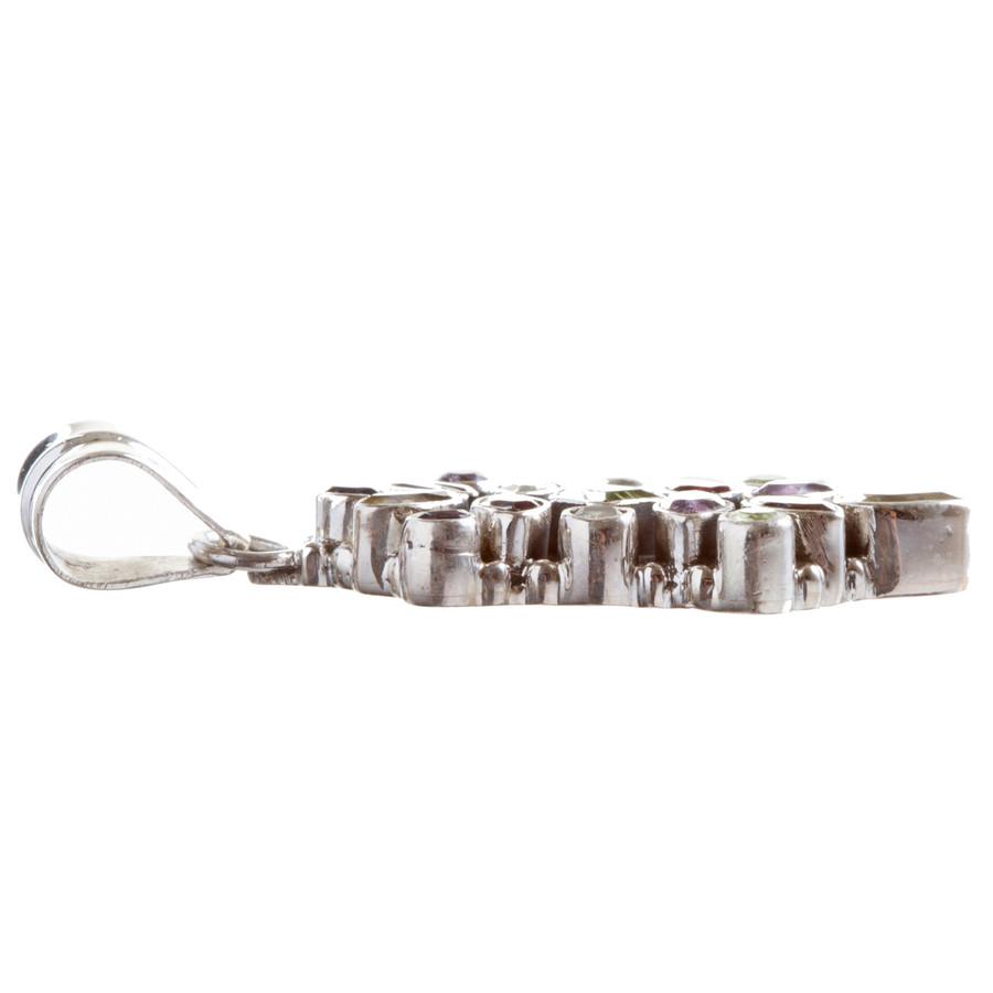 925 Sterling Silver Natural Gemstones Multigems Pendant FJSVP2094