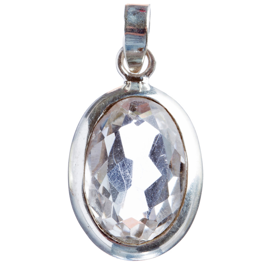 925 Sterling Silver Natural Gemstones White Topaz Pendant FJSVP2095