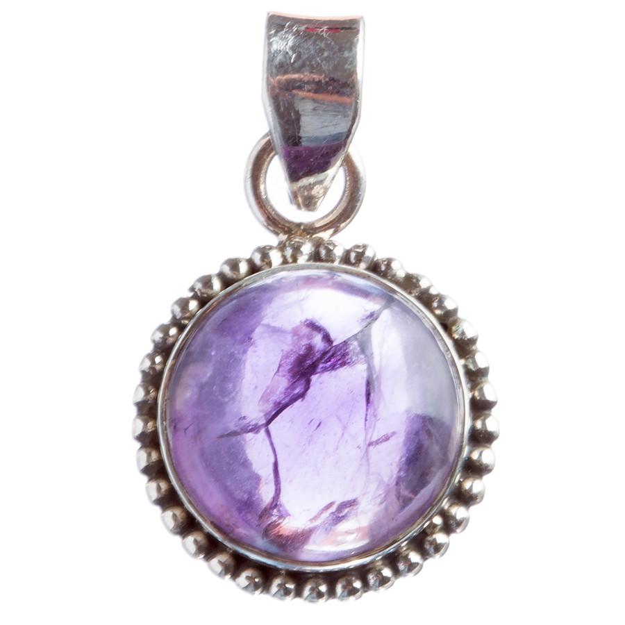 925 Sterling Silver Natural Gemstones Amethyst Pendant FJSVP2096