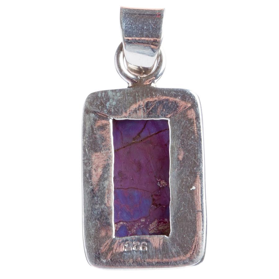 925 Sterling Silver Natural Gemstones Purple Copper Turquoise Pendant FJSVP2097