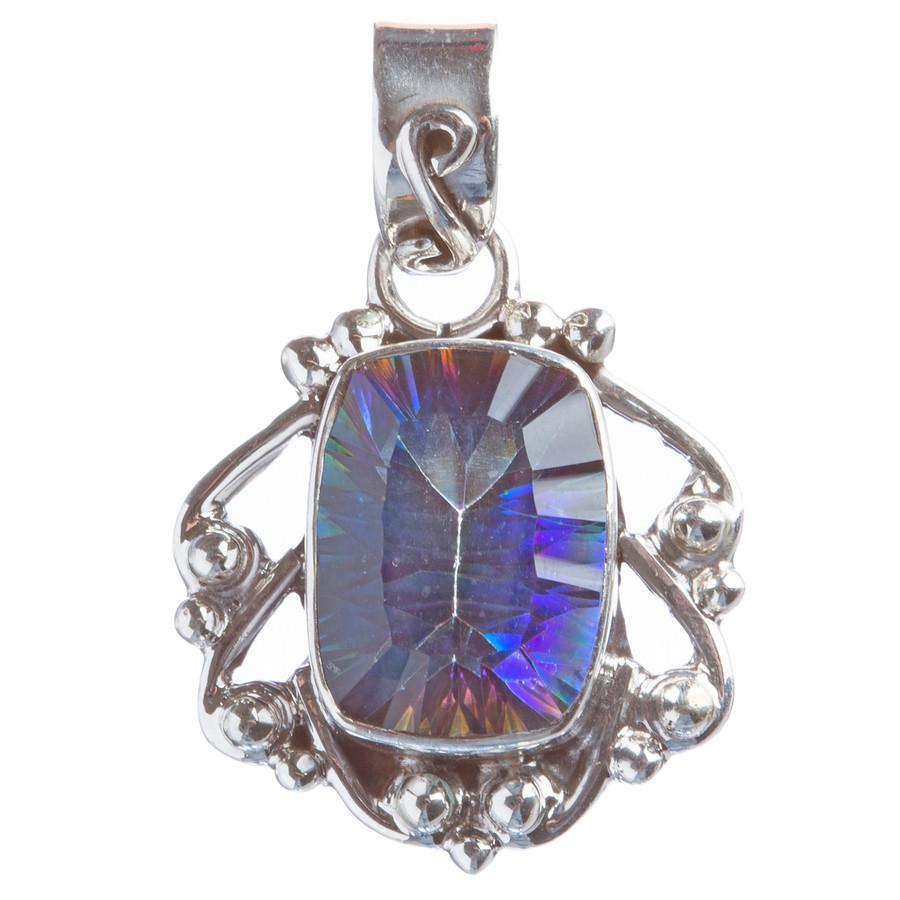 925 Sterling Silver Natural Gemstones Rainbow Magic Topaz Pendant FJSVP2107