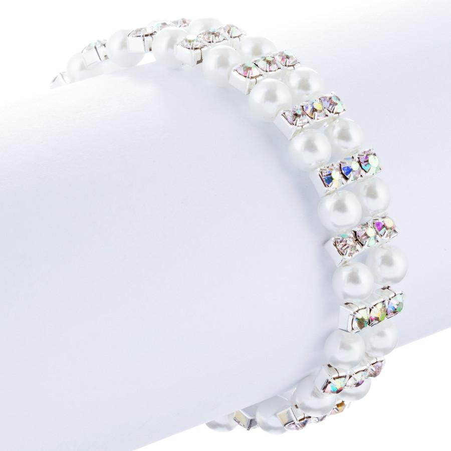 Bridal Wedding Jewelry Charming Pearl Rhinestones Stretch Bracelets B525 Silver