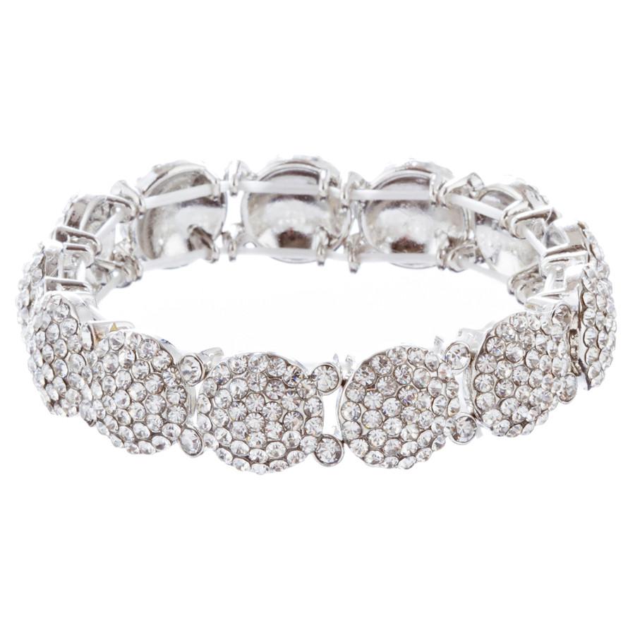 Bridal Wedding Jewelry Crystal Rhinestone Gorgeous Stretch Bracelet B527 Silver