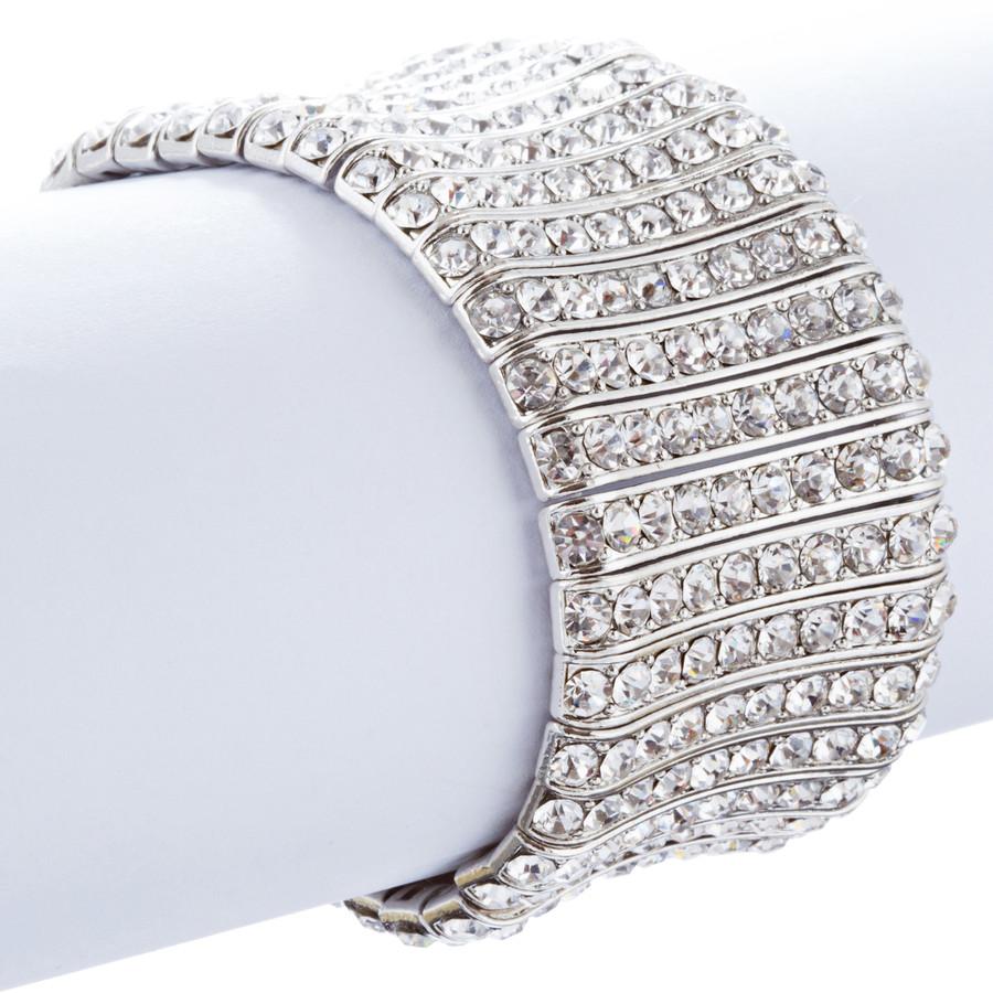 Bridal Wedding Jewelry Crystal Rhinestone Striking Stretch Bracelet B529 Silver
