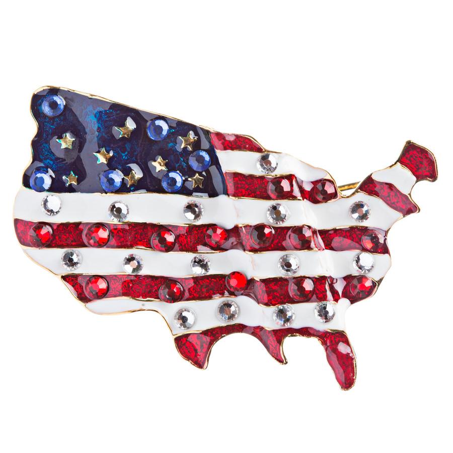 Patriotic Jewelry Crystal Rhinestone American Flag Charm Brooch Pin BH84 Gold