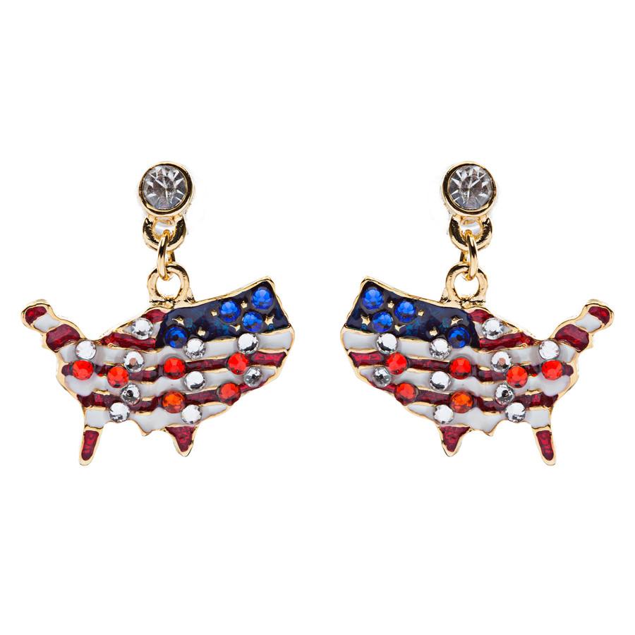 Patriotic Jewelry Crystal Rhinestone American Flag Dangle Earrings E762 Gold