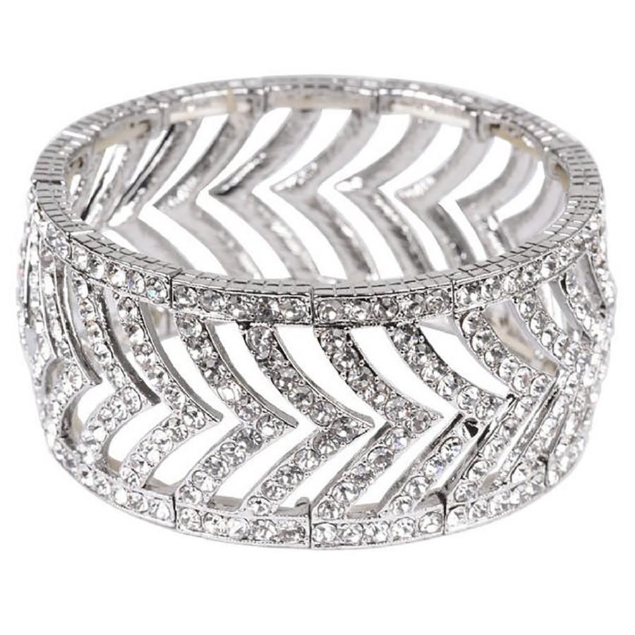 Bridal Wedding Jewelry Prom Brilliant Crystal Stretch Fashion Bracelet B532 SV
