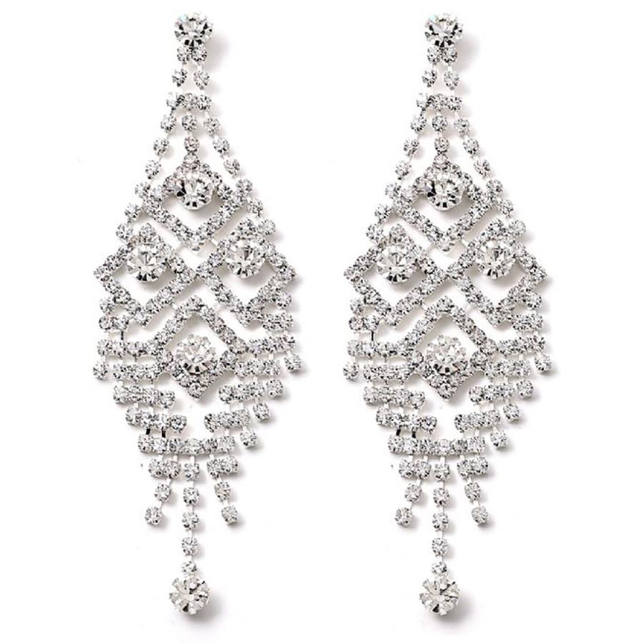 Bridal Wedding Jewelry Prom Crystal Rhinestone Stunning Dangle Earrings E1148 SV