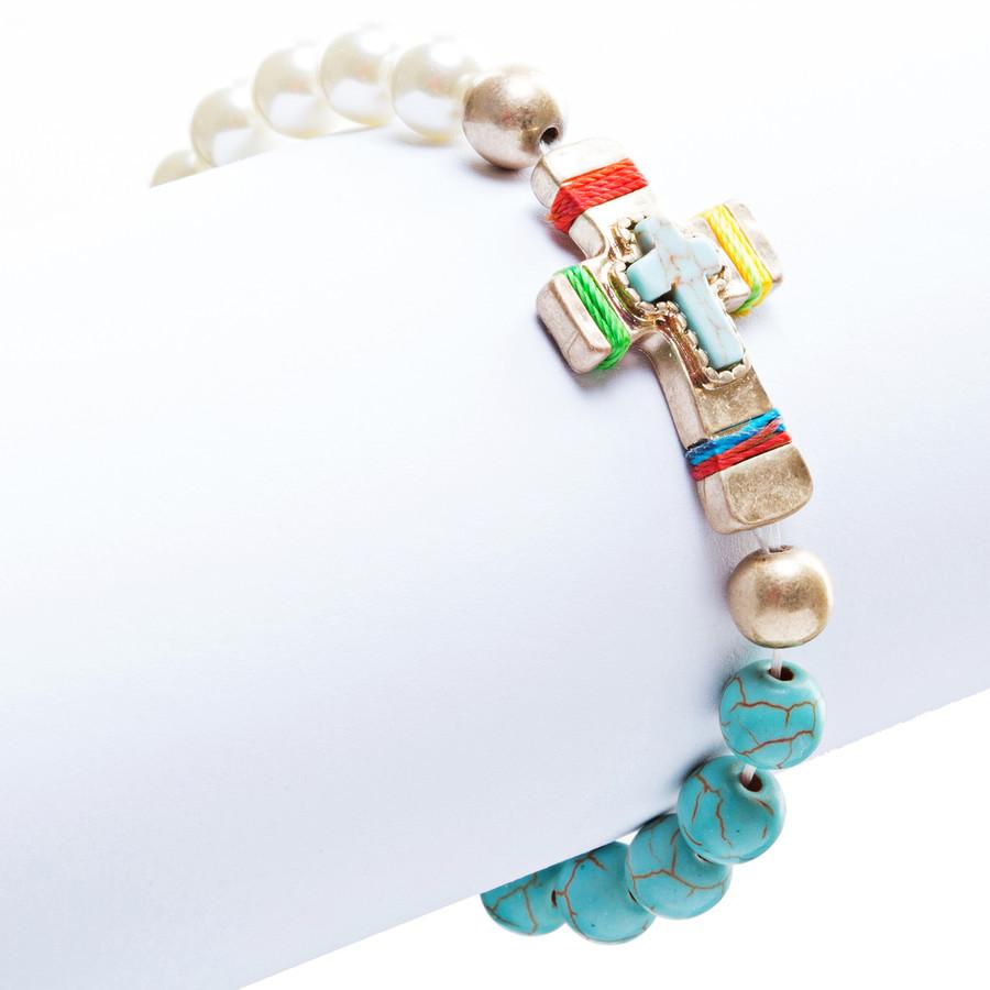 Cross Jewelry Attractive Stone Cross Stretch Link Bracelet B493 Multi
