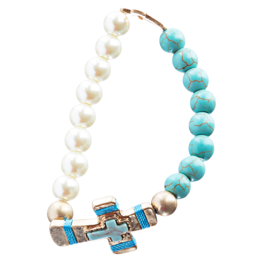 Cross Jewelry Fascinating Stone Cross Stretch Link Bracelet B493 Turquoise