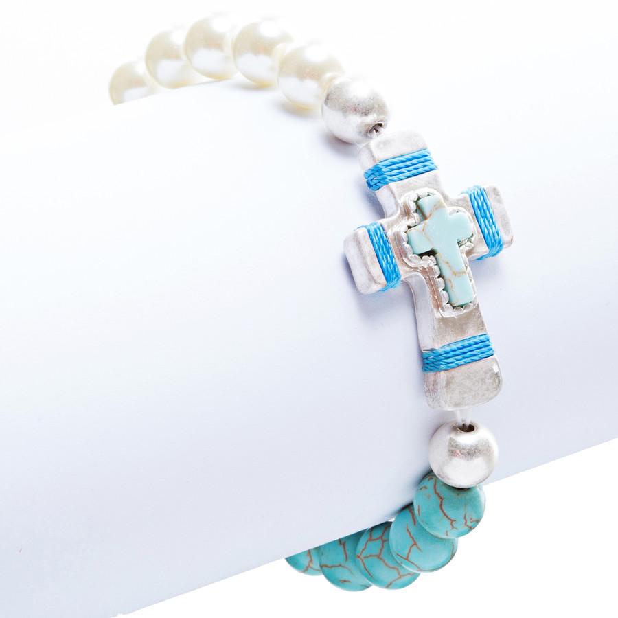 Cross Jewelry Charming Stone Cross Stretch Link Bracelet B493 Turquoise