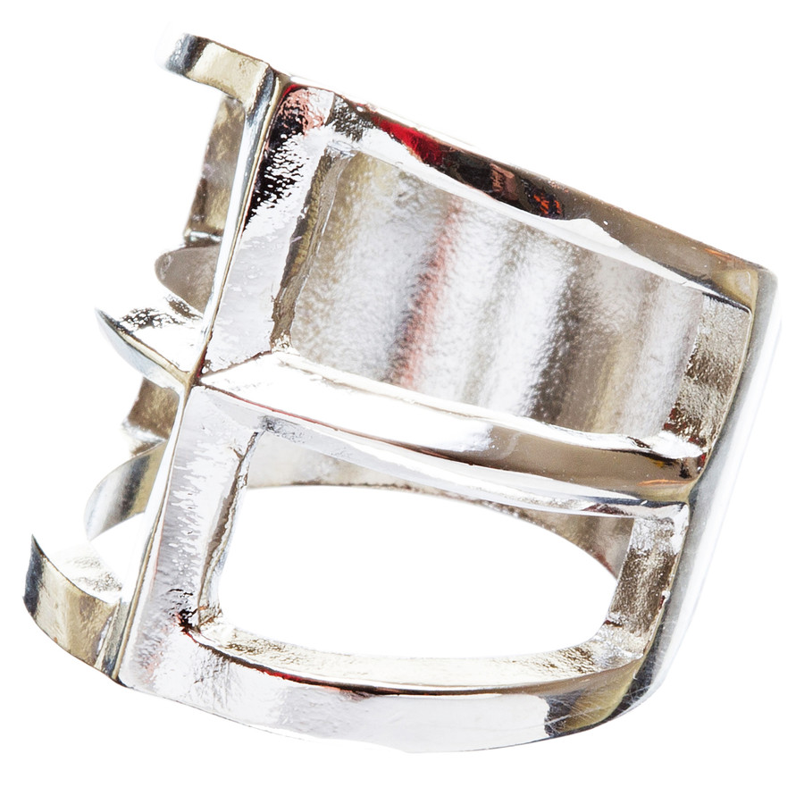 Trendy Square Shaped Hollow Design Statement Fashion Size 8 Ring R215 Silver
