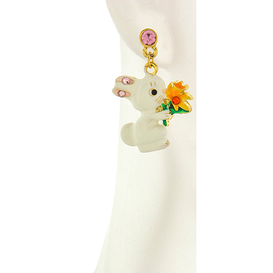 Spring Easter Jewelry Crystal Cute Bunny Flower Fashion Dangle Earrings E1152