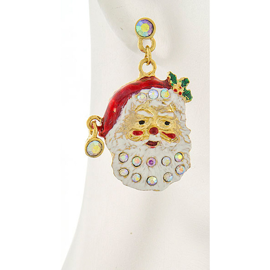 Christmas Jewelry Holiday Crystal Happy Santa Claus Dangle Earrings E1153 Gold