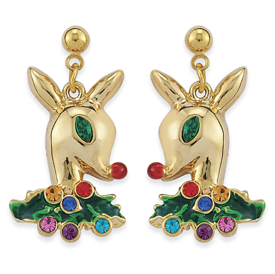 Christmas Jewelry Crystal Holiday Reindeer Dangle Earrings E1181 Gold Multi