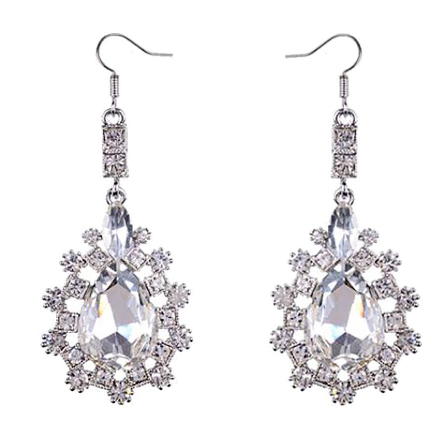 Bridal Wedding Jewelry Prom Crystal Rhinestone Simple Classic Earrings E1186 SV