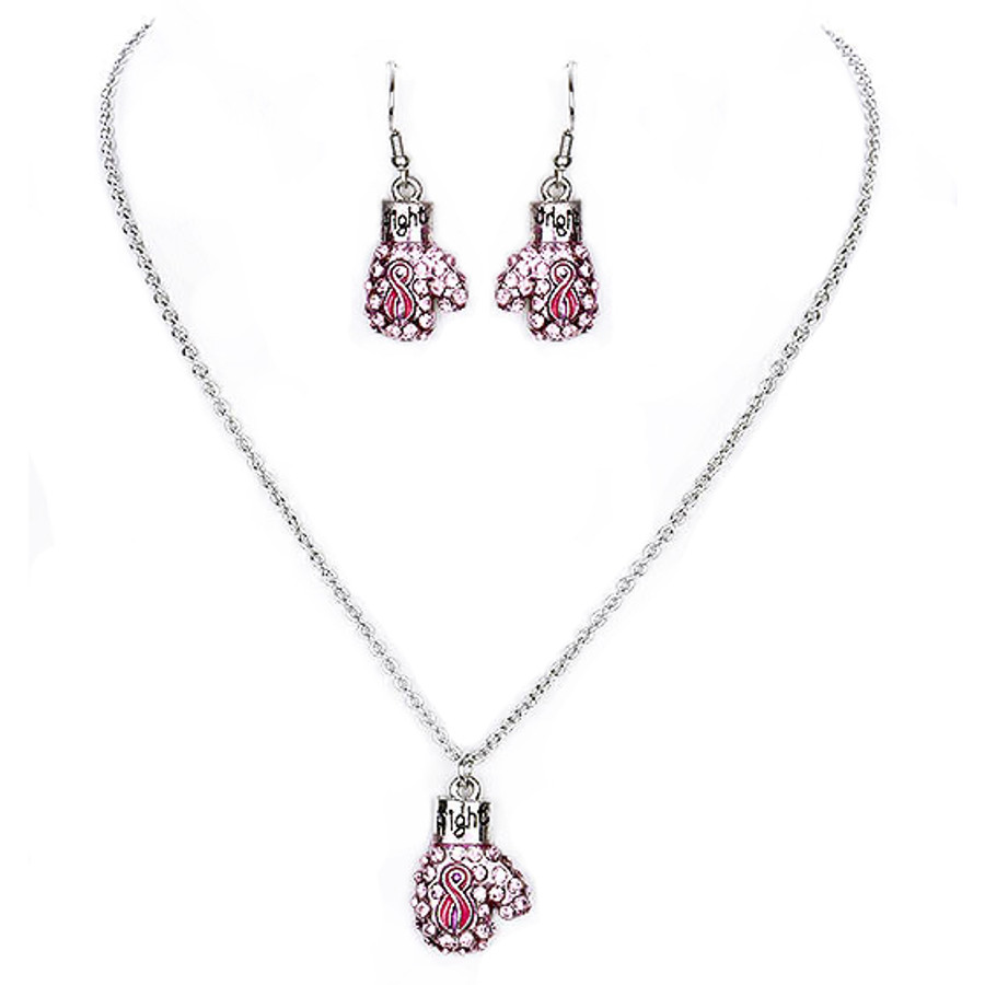 Pink Ribbon Jewelry Breast Cancer Awareness Boxing Glove Necklace Set JN318 SV