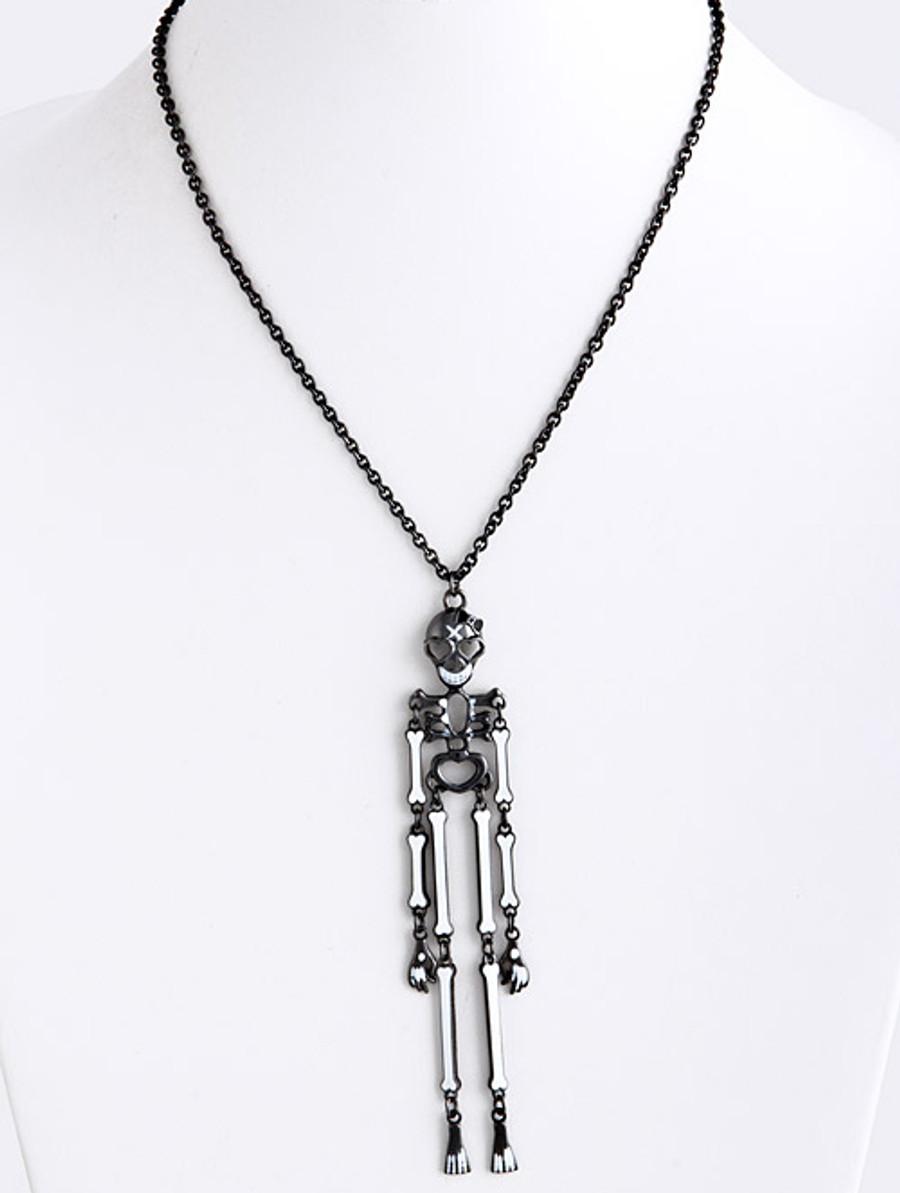 Halloween Costume Jewelry Articulate Skeleton Pendant Necklace N109 Black