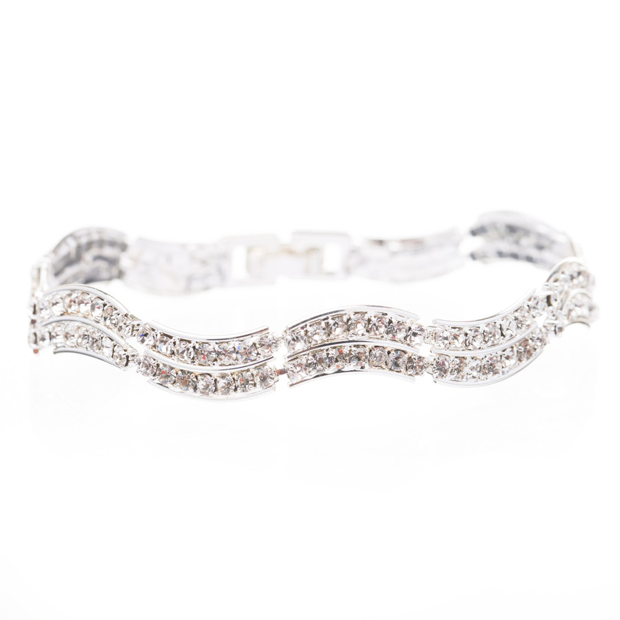 Bridal Wedding Jewelry Crystal Rhinestone Simple Classic Light Swirl Bracelet SV