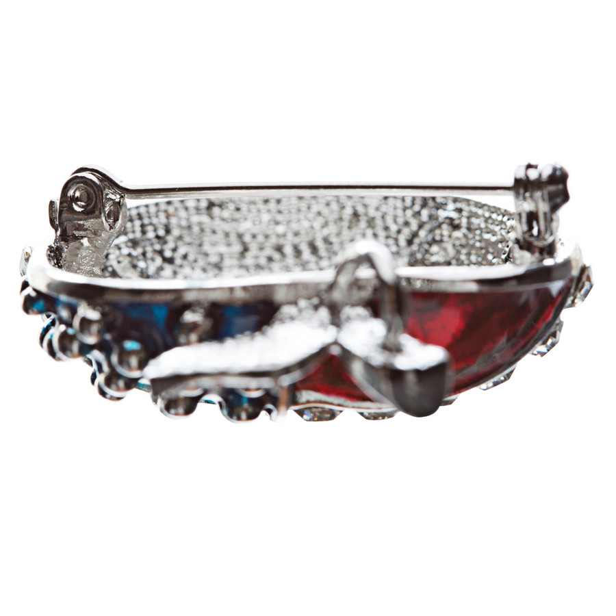 Patriotic American Flag Gorgeous Crystal Rhinestone 3D Apple Brooch Pin Silver