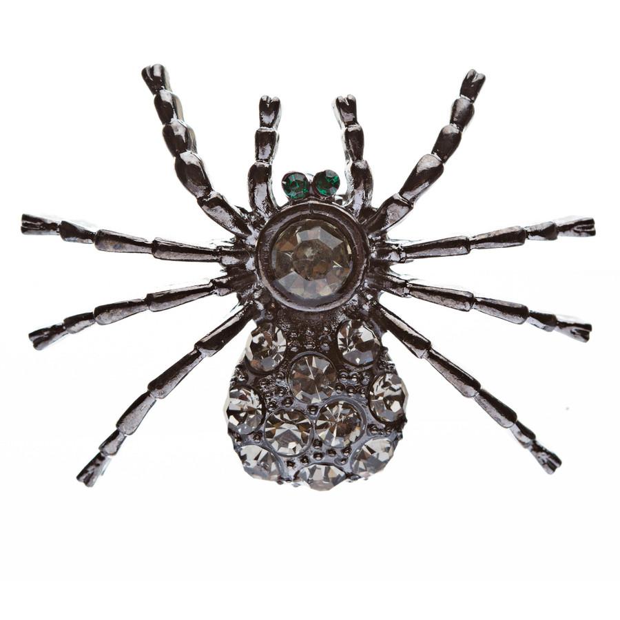 Halloween Costume Jewelry Spider Crystal Charm Fashion Brooch Pin Hematite Black