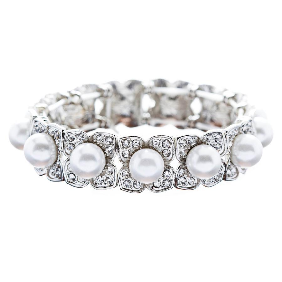 Bridal Wedding Jewelry Elegant Crystal Pearl Flower Stretch Bracelet Silver WT