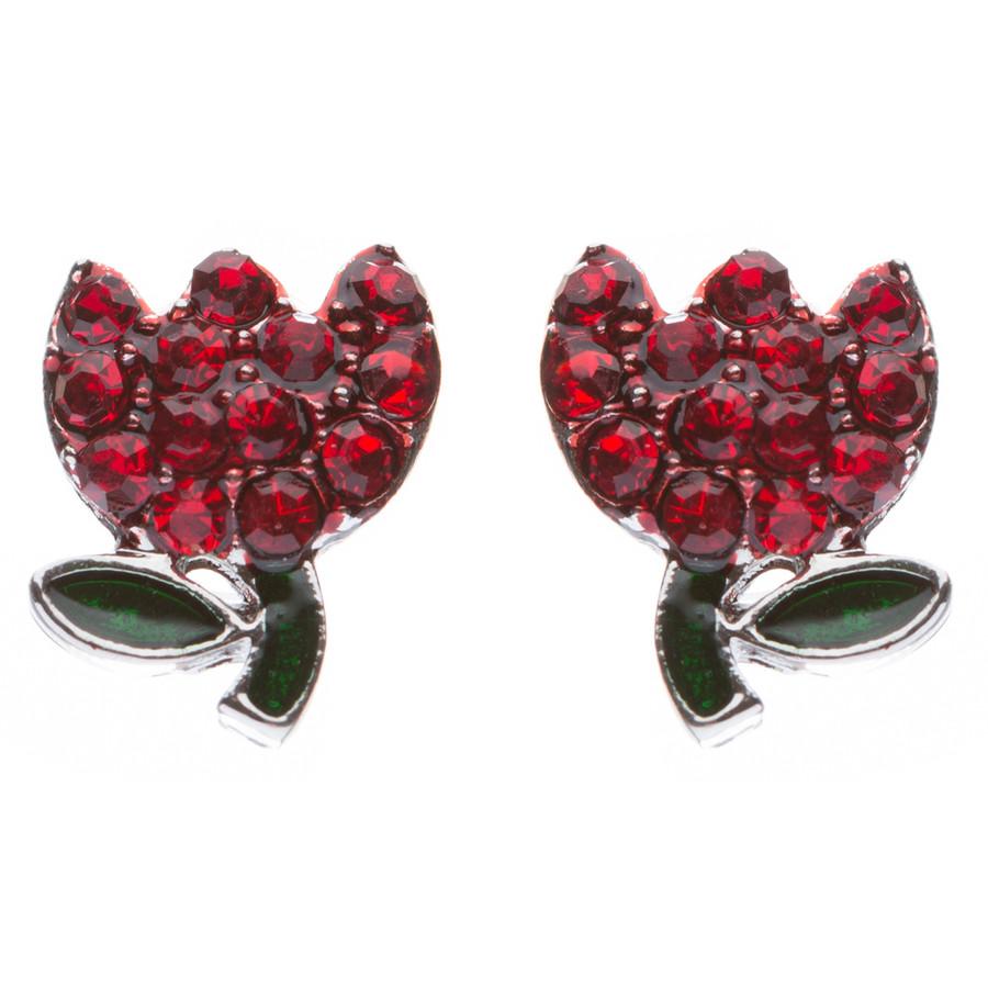 Gorgeous Crystal Rhinestone Tulip Flower Fashion Stud Earrings Silver Red