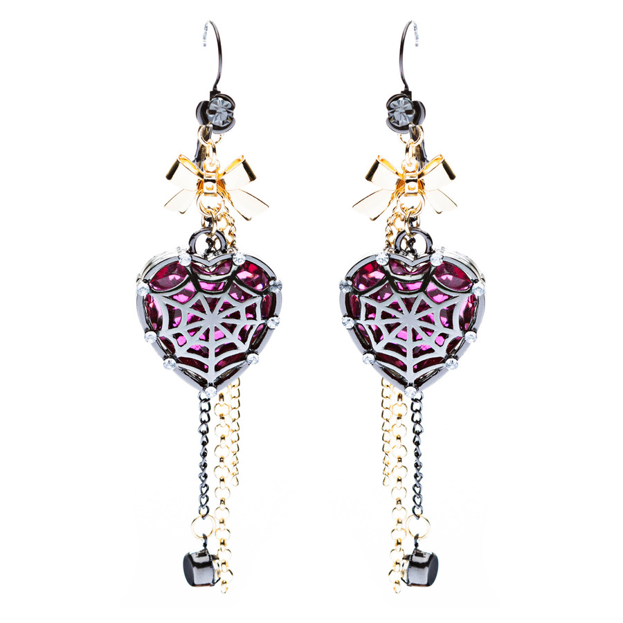 Halloween Costume Jewelry Crystal Rhinestone Spider Web Heart Dangle Earrings