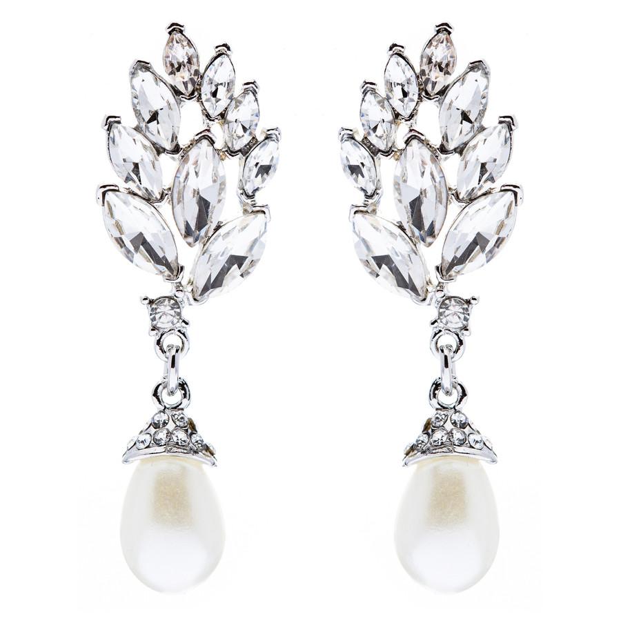 Bridal Wedding Jewelry Crystal Pearl Chic Modern Teardrop Dangle Earrings Silver