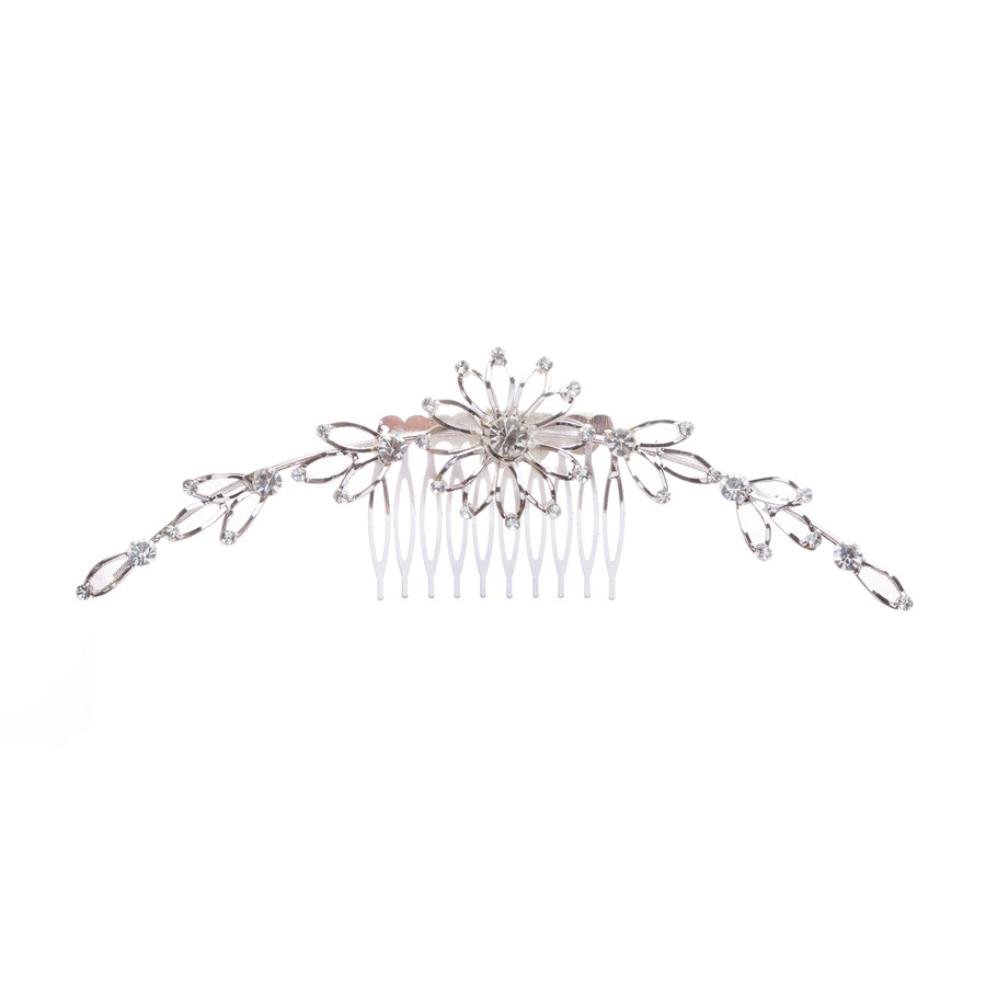 Bridal Wedding Jewelry Crystal Rhinestone Mesh Linear Floral Drape Hair Comb Pin